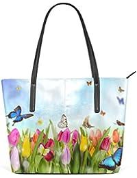 1a531c163931e Eslifey Tulip Flowers With Butterflies In Garden PU-Leder Schulter Tasche  Tasche für Damen Mädchen