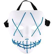TiaoBug Máscara Espeluznante Luminosa para Halloween Carnaval Cable LED Recargable Máscara para Fiesta de Disfraces Máscarada