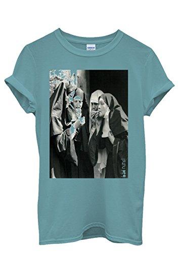 Bad Nuns Smoking Sister Religion Funny Men Women Damen Herren Unisex Top T Shirt Licht Blau
