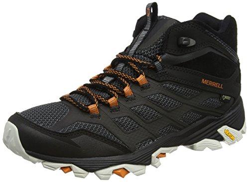 Merrell Herren Moab Fst Mid Gore-Tex Trekking-& Wanderstiefel, Schwarz (Schwarz/Orange), 45 EU (Wasserdichte Schuhe Herren Merrell)