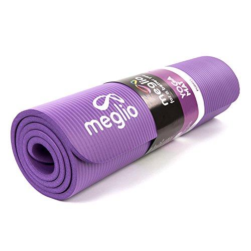 Meglio Esterilla de Yoga Antideslizante – Hecha de NBR con 10mm de grosor para todo tipo de ejercicios. Yoga, fitness, pilates, rutinas de ejercicios. En color morado - también en rosado, celeste y negro