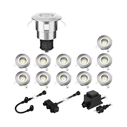 parlat LED Boden-Einbauleuchte Atria für außen Aluminium warm-weiß, je 14lm, IP65, 40mm Ø 12er Set