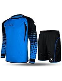 Kelme futbol portero de manga larga jersey de futbol Set traje (Blue Black b5895792a2d17