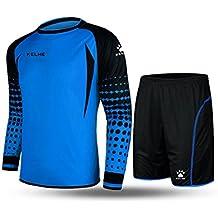 Kelme futbol portero de manga larga jersey de futbol Set traje (Blue/Black,