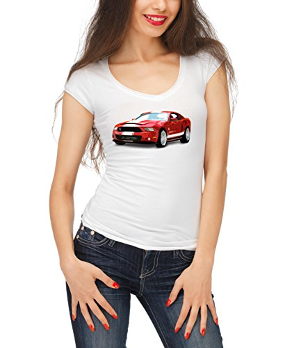 Billion Group | Red Classic | American Muscle | Fast Car Club | Women's Megan Crew Neck T-Shirt Bianco X-Large