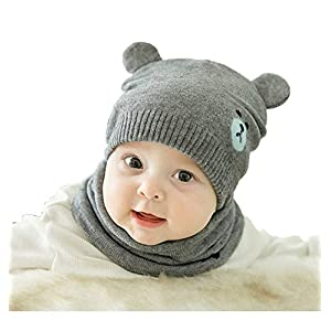 Ziory 2Pcs Grey Winter Bear Kids (3-6 months) Baby Hats Lovely Infant Toddler Girl Boy Beanie Cap Warm Baby Hat+ Knitted…