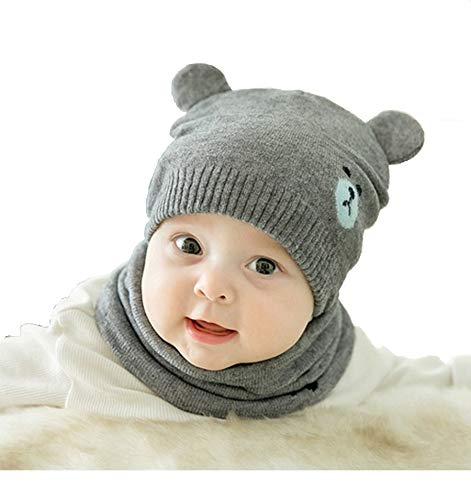 Ziory 1Pcs Grey Winter Bear Kids Baby Hats Lovely Infant Toddler Girl Boy Beanie Cap Warm Baby Hat+ Knitted Scarf Set Earflap Caps for Unisex Baby Boys and Baby Girls