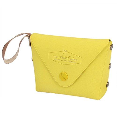 sourcingmap® Gelb Kunstleder Metall Mini einzelnes Fach Taschengeld Müntze Geldbeutel Damen