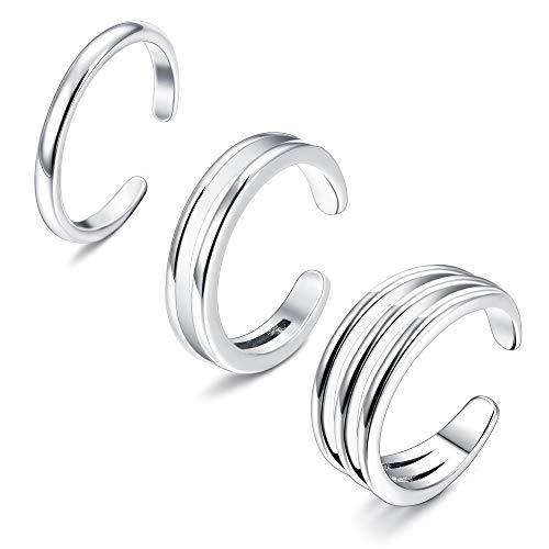 Sllaiss - Juego anillos apilables minimalistas plata