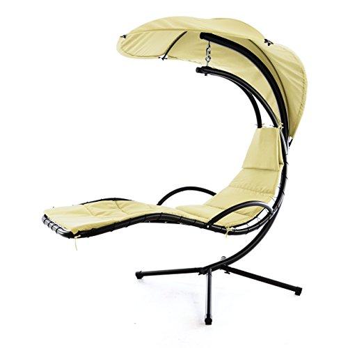 Nexos Luxus Schwebeliege Beige Schwingliege Relaxliege Hängeliege Sonnenliege Hängeschaukel Inklusive Sonnenschirm