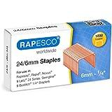 Rapesco Grapas - Caja de 1000 grapas de cobre 24/6mm (22/6), uso habitual en la mayoría de grapadoras