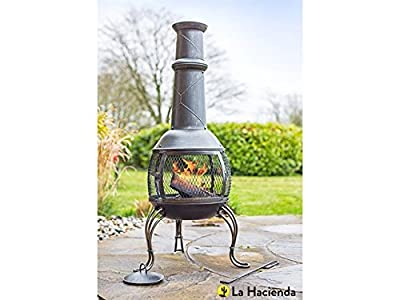 La Hacienda 56210 Leon Large Chimenea Chiminea Mesh Bronze Steel Garden Heater