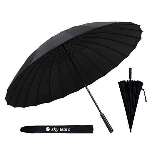 Paraguas de Golf a Prueba de Viento Hombres Paraguas Grande Antiviento, Mango cuero de la PU Antideslizante y Cómodo Paraguas Largos SKY TEARS (A negro)