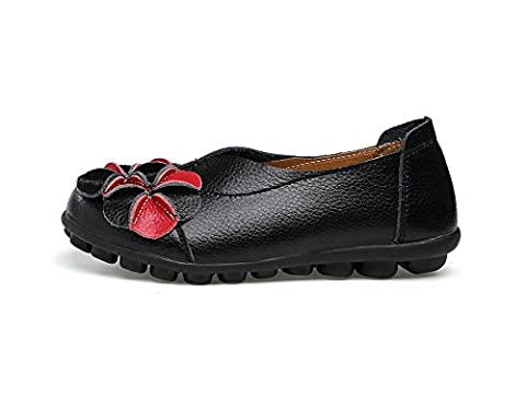 Verocara Women's Leather Flower Flat Casual Shoes Driving Loafers Black