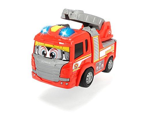 Dickie Toys 203816003 - Happy Scania Fire Truck, Feuerwehrauto mit Licht und Sound, für Kleinkinder ab 2 Jahren, 25cm (Mit Kinder Feuerwehrauto Dem Fahrt)