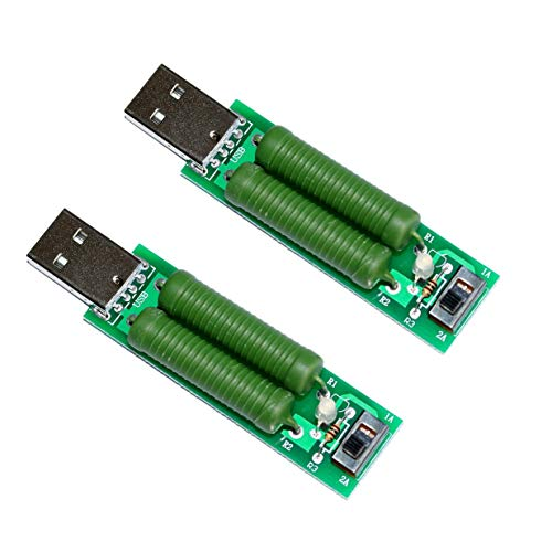 USB Lastwiderstand Mobile Power Aging Test Widerstände 2A 1A USB Port Strom Spannungsmesser Tester Adapter Grün 10W - Grün