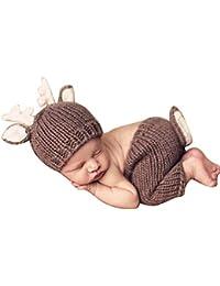 Quge Recién Nacido Fotografía Apoyos Bebé Crochet Trajes Ciervos Sombrero +  Pantalones Cortos cadde8e8006