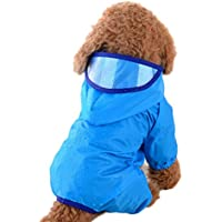 BIGBOBA 1Pieza Mascotas Gato Perro Chubasquero Jumpsuit con Capucha Chaqueta Adecuado para Pequeñas Mediana Gatos Perros Agua Densidad Ropa, Azul, Medium