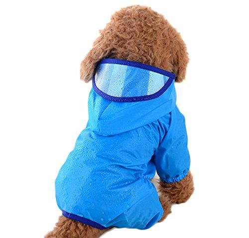 1X Toruiwa Hund Regenmantel Haustier Regenmantel Wasserdicht Regenjacke Verstellbares Regencape Blau