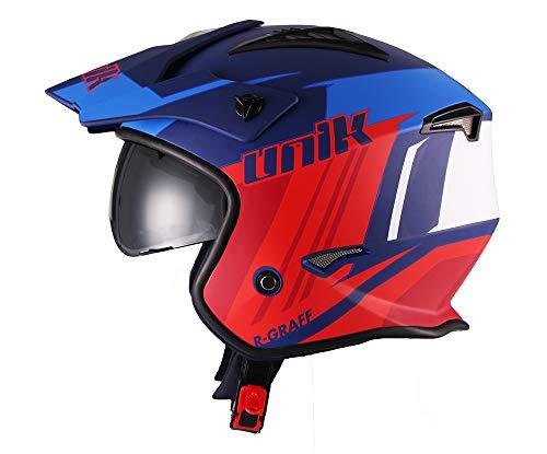 Unik-casco Jet Trial aperto ct-07, colore r-graff Blu/Rosso/Bianco Opaco XL (61-62 cm.) Giallo fluorescente/Nero opaco