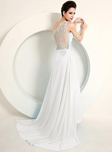 Azbro Women's One Shoulder Rhinestone Long Prom Dress Sky Blue