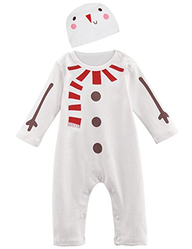 Mombebe Baby Jungen Weihnachten Kostüm Schneemann Strampler mit Hut (6-9 Monate, Schneemann) Größe 80 - Baby Hut Größen