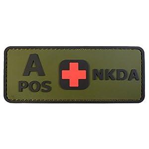 Olive Drab Green OD A POS Groupe Sanguin NKDA Combat Tactical PVC Gomme 3D Velcro Écusson Patch