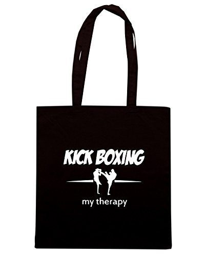 T-Shirtshock - Borsa Shopping TAM0090 kick boxing my therapy dark tshirt Nero