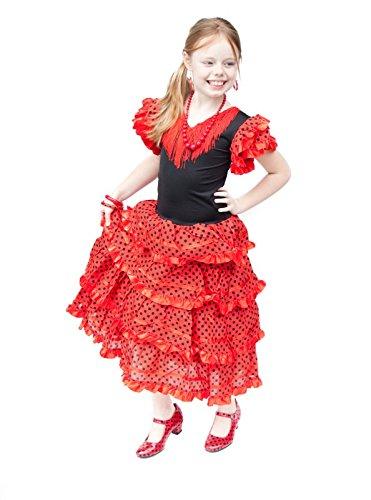 Spanische Tänzerin Kostüm Flamenco Senorita - La Senorita Spanische Flamenco Kleid/Kostüm - für Mädchen/Kinder - Rot/Schwarz (Größe 128-134 - Länge 85 cm- 7-8 Jahr, Mehrfarbig)