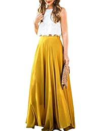 6fb560ce6b019 OHQ Robe De Taille Sauvage en Mousseline Soie pour Femmes Haute Jupe  PlisséE Rose Gris Jaune