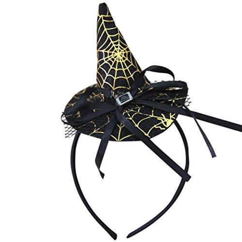 Transer® Erwachsene/Kinder Hexe-Hut Halloween Ornament Requisiten Zubehör für Halloween Party Karneval Größe: 22x11cm (C) (Halloween-hexe-hut Stirnbänder)