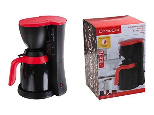 Cafetera eléctrica Jarra Térmica 1litro jarra térmica (indicador de nivel de agua (Cafetera 12tazas, sistema antigoteo,, 800W, color negro rojo)