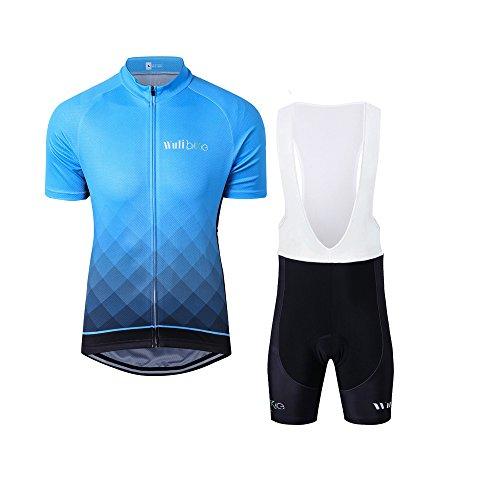 logas Herren Radtrikot Set Atmungsaktiv Radsportanzug Blau Radtrikot mit 3D Gepolsterte Trägerhose Schnell Trocknend für Outdoor Sports