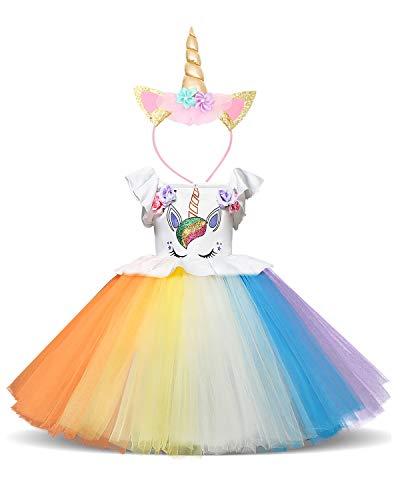 (NNJXD Mädchen Einhorn Halloween Weihnachten Cosplay verkleiden sich Geburtstag Party Phantasie Blume Prinzessin Rainbow Dress + Einhorn Headwear Größe (90) 1-2 Jahre Regenbogen)