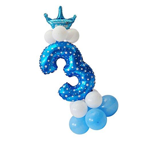 MagiDeal Folienballon Zahlenballon Latexballon Blau Riesenzahl Luftballon Baby Dusche Party Kindergeburtstag Deko - Nummer 3