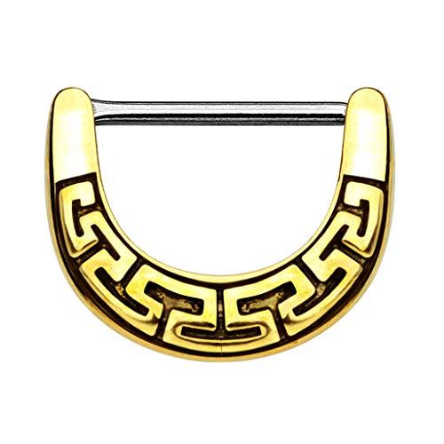 Piercingfaktor Brustpiercing Brustwarzen Intimpiercing Nippelpiercing Barbell Intim Nippel Brust Piercing Clicker Ring Aztec Tribal Schild Gold 1,2mm