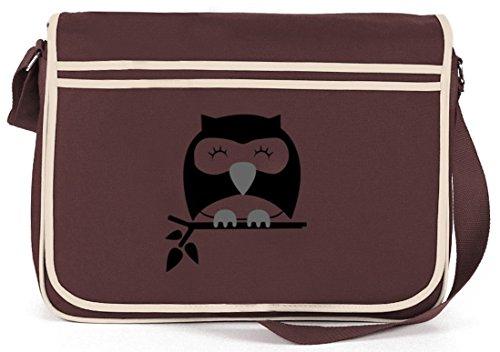 Shirtstreet24, Sleepy Owl, Eule Natur Retro Messenger Bag Kuriertasche Umhängetasche Braun