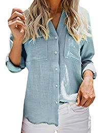 MEIbax Frauen Baumwolle Leinen Hemd Damen Casual Solid Langarm-Shirt Bluse  Button-Down- 00c0d72192