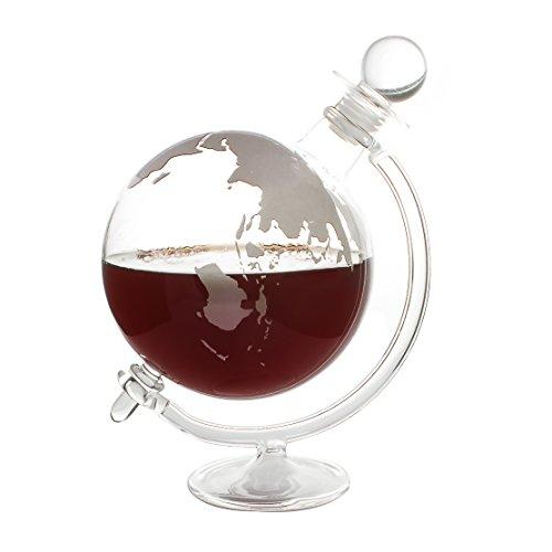 CKB LTD® Globe à décanter avec Support à Berceau Couvercle en liège et Verre soufflé à la Main – Idéal pour Vodka Whisky, Scotch, Rhum Tequila et Plus Encore – Peut contenir jusqu'à 1 Litre