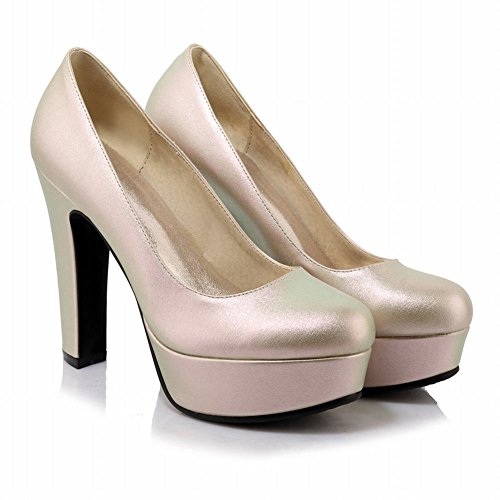 Mee Shoes Damen high heels Plateau Geschlossen Pumps Gold