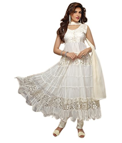 Lavis Womens Net Anarkali Dress Material (Fash1448 _White _Free Size)