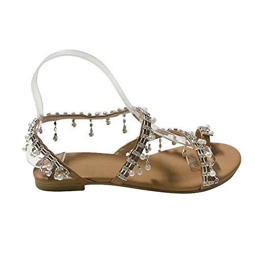 SHE.White Sommer Elegante Boho Vintage Damen Frauen Mode Perlen Sandalen Sommer Schuhe Party Sexy Perle Flache Unterseite Clip Toe Flip Flop Zehentrenner Schuhe Übergröße Sommerschuhe -