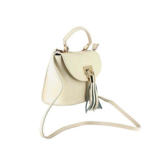 Laura Moretti - Leder-Flap-Tasche mit Quasten-Charme Beige