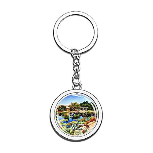 USA Vereinigte Staaten Schlüsselbund Denver Botanic Gardens Schlüsselbund 3D Kristall Drehen Rostfreier Stahl Schlüsselbund Touristische Stadt Andenken Schlüsselanhänger