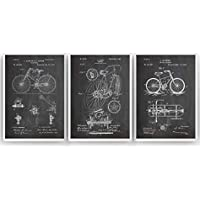 Bicicleta Poster de Patente - Pack de 3 Láminas - Patent Póster Con Diseños Patentes Decoracion de Hogar Inventos Carteles Prints Wall Art Posters Regalos Decor Blueprint - Marco No Incluido