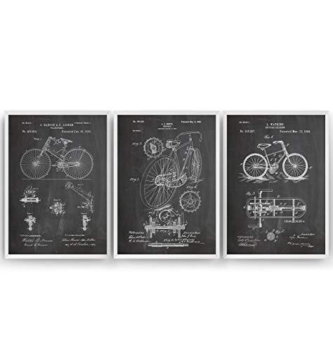 Fahrrad Patent Poster - Set Of 3 Prints - Bicycle Jahrgang Bild Drucke Kunst Geschenke Zum Männer Frau Entwurf Dekor Vintage Art Gifts For Men Women Blueprint Decor - Rahmen Nicht Enthalten (Die Blueprint 3)