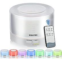 KBAYBO 500ml Control Remoto Aroma Difusor de Aceite Esencial de Aromaterapia Humidificador de Control Remoto Con Luces LED de 7 Colores (White)