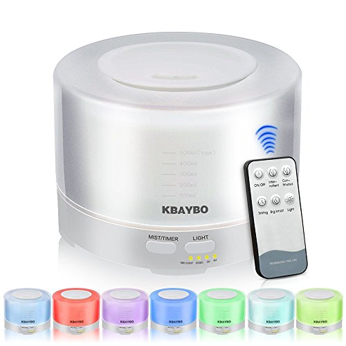 KBAYBO 500 ml Aroma Difusor de Aceite Esencial de Aromaterapia Humidificador de Control Remoto Con Luces LED de 7 Colores (White)