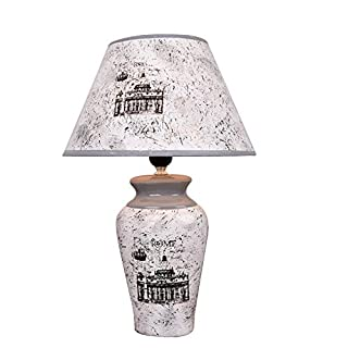 Ceramic Table lamp Nordic Home Living Room Bedroom Study Bedside Hotel Decorative Ceramic lamp Body White Card lamp Cover E27 (Button Switch),A