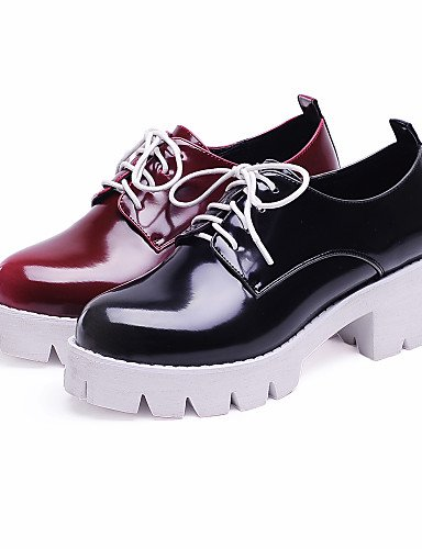 ZQ hug Scarpe Donna - Scarpe col tacco - Ufficio e lavoro / Formale / Casual - Tacchi - Quadrato - Finta pelle - Nero / Rosso , red-us8 / eu39 / uk6 / cn39 , red-us8 / eu39 / uk6 / cn39 black-us6 / eu36 / uk4 / cn36